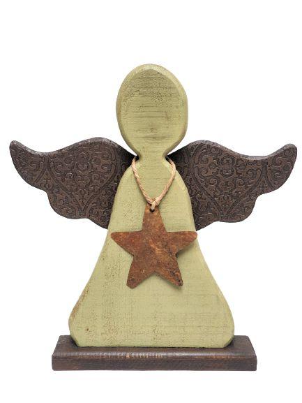 Anjo Decorativo em Madeira e Asas de Metal