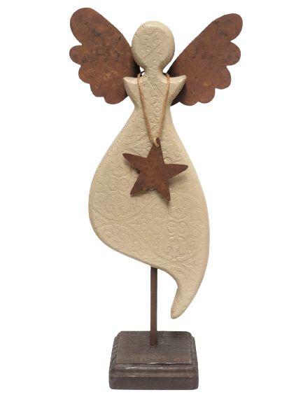 Anjo Decorativo em Madeira e Asas de Metal com base