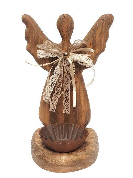 Anjo Decorativo em Madeira com laço de tecido e castiçal