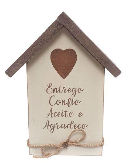 Casinha Decorativa de Madeira com escrita