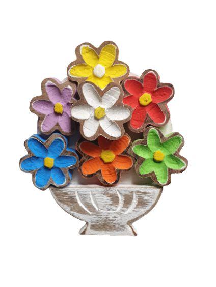 Quadro Rustico flores Coloridas em madeira P