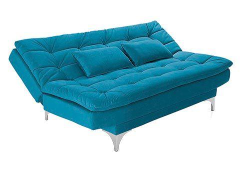 Sofá-Cama 3 Lugares Prátic Suede Liso Azul