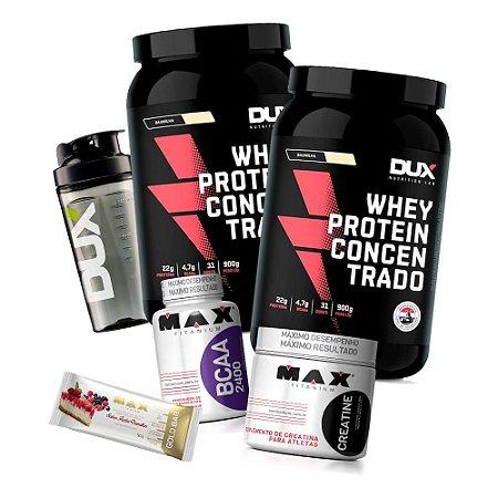 Kit 2x Whey Concentrado Dux Nutrition + BCAA + Creatina + Coqueteleira