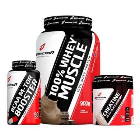 Kit 100% Whey Muscle + BCAA 90 + Creatine 70g - Body Action
