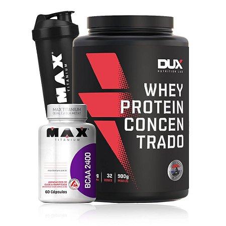 Combo Whey Protein Concentrado + Bcaa 2400 + Coq - Max Titanium