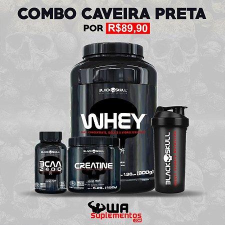 Combo Caveira Preta - Whey  Bcaa + Creatina + Brinde - Black Skull