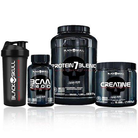 Kit Protein 7 Blend + Bcaa 2400 + Creatine + Brinde - Black Skull