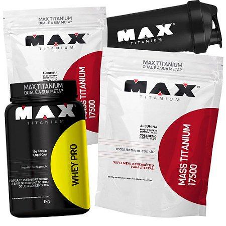 Kit 2x Mass Titanium 17500 + Whey Pro + Brinde - Max Titanium