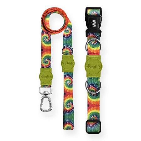 Kit Guia Premium + Coleira Premium Peace Tie Dye