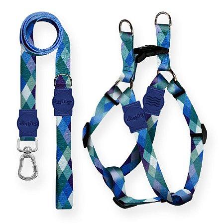 Kit Guia Premium + Peitoral Americano Quadriculada Azul