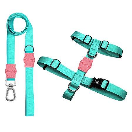 Kit Guia Premium + Peitoral H Classic Aquamarine Rosa