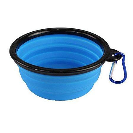 Bowl Comedouro Portátil Azul - Tamanho Pequeno
