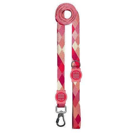 Guia Premium Longa Quadriculada Rosa Borracha Rosa