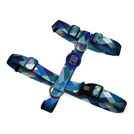 Peitoral Premium Quadriculado Azul Borracha Azul