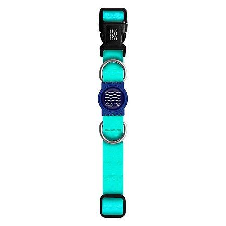 Coleira Premium Classic Aquamarine Borracha Azul