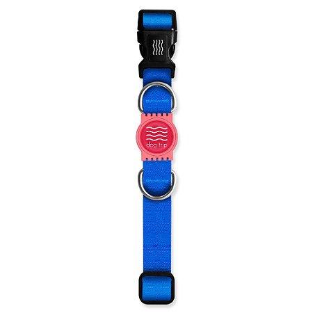 Coleira Premium Classic Blue Borracha Rosa