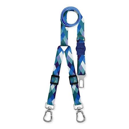 Cinto de Segurança Duplo Quadriculado Azul