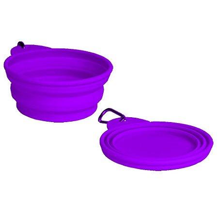 Bowl Comedouro Bebedouro Portátil Purple - Grande