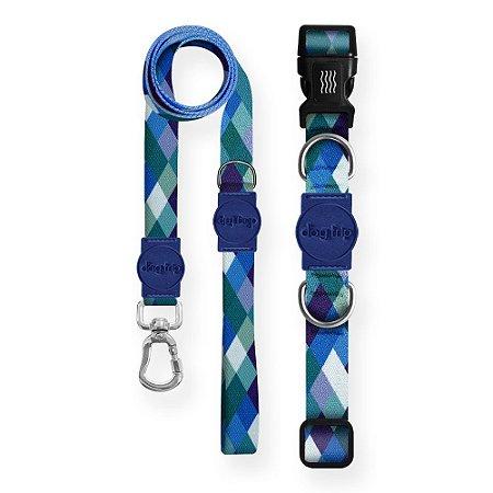 Kit Guia Premium + Coleira Premium Quadriculada Azul