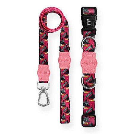 Kit Guia Premium + Coleira Premium Tucano Rosa