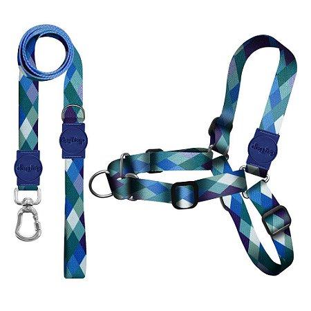 Kit Guia Premium + Peitoral Antipuxão Quadriculada Azul