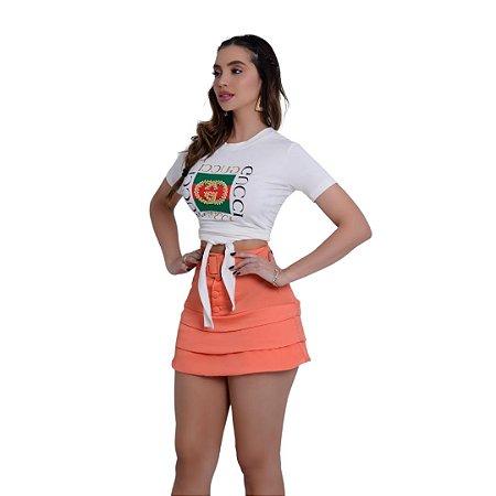 T-Shirt Modinha Bordada Com Amarração