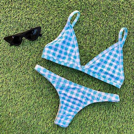 Cortininha fixa + calcinha fio normal Campos Azul