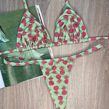 Cortininha móvel + calcinha baby Abacaxi Verde