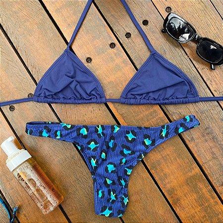 Cortininha móvel Marinho + Calcinha fio normal Safári Azul G