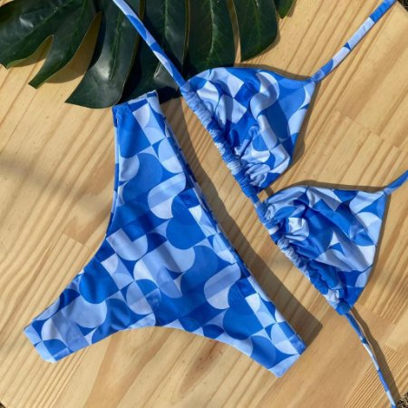 Cortininha móvel + calcinha confort Geométrico Azul