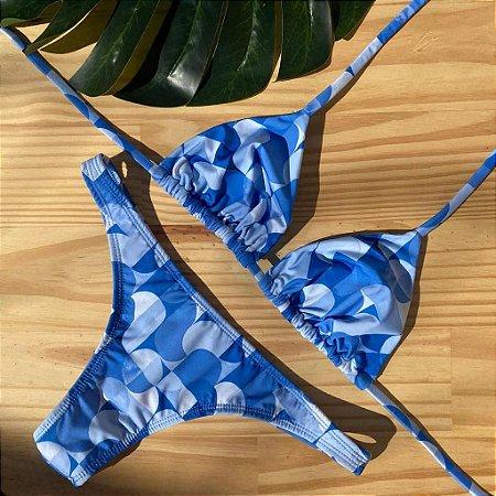 Cortininha móvel + calcinha fio normal Geométrico Azul