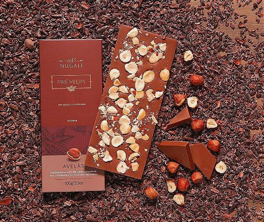Tablete chocolate ao leite com avelãs