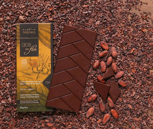 Tablete chocolate cacau em flor 70 %