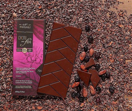 Tablete chocolate cacau em flor 70 % com crocante de açaí