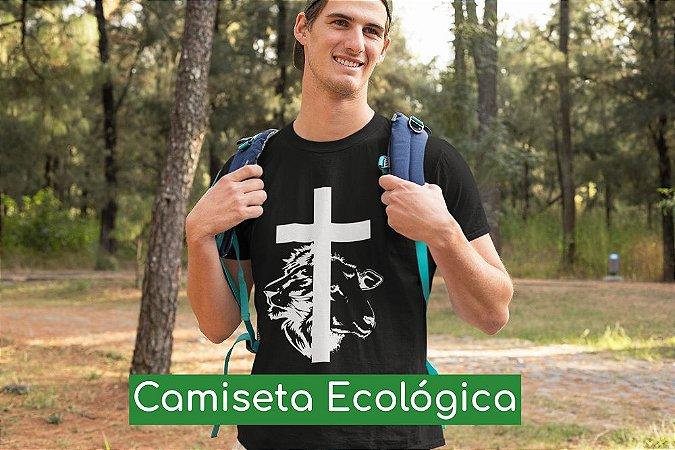 Camiseta Ecológica Preta Cordeiro e Leão - UNISSEX