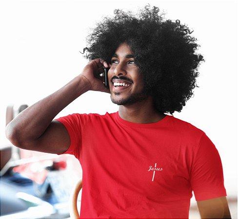 Camiseta Vermelha Jesus Cruz - Peito