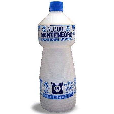 Álcool 46° Liquido Montenegro para Limpeza Geral 1L Caixa com 12 unidades