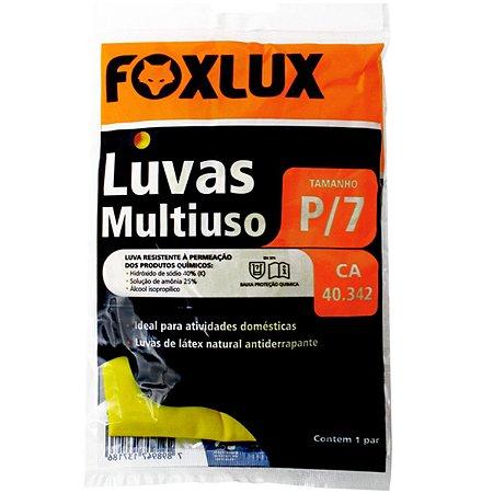 Luva de Látex Foxlux Multiso Pequena Nº7 Antiderrapante Amarela