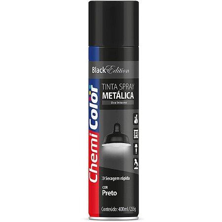 Tinta Spray Chemicolor Metálica Preta 400ml 104