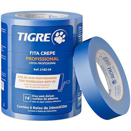 Fita Crepe Tigre 24mm x 50m Azul Embalagem com 6 Unidades