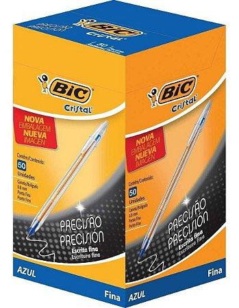 Caneta Bic Cristal Precisão Fina 0.8mm Azul Caixa com 50 unidades