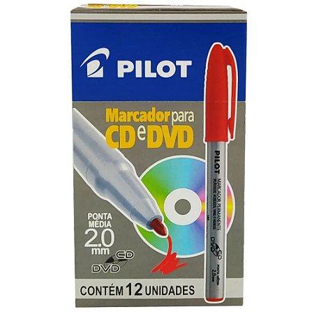 Marcador Permanente Pilot Ponta 2mm Vermelho Caixa com 12 Unidades
