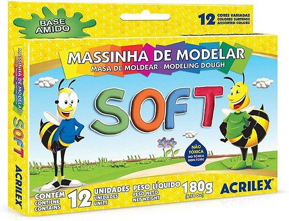 Massa de Modelar Soft Acrilex 180g com 12 Caixas com 12 Cores