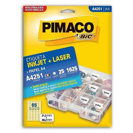 Etiqueta Pimaco A4 A4251 com 25 Folhas