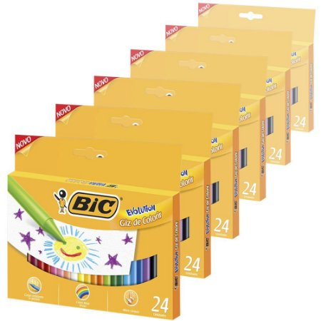 Giz de Cera Bic Evolution com 24 Cores - 6 Caixas