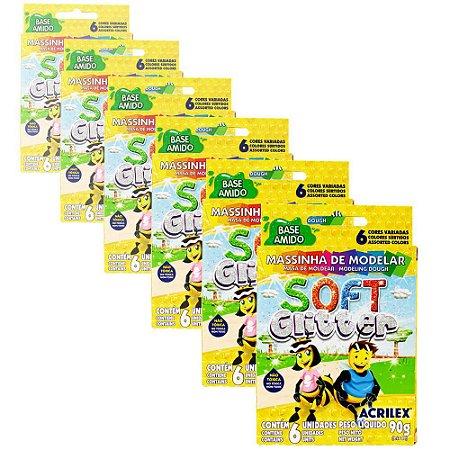 Massa de Modelar Acrilex Soft Glitter com 6 Cores - 6 Caixas