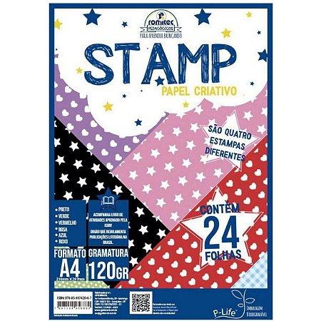 Papel Sulfite Romitec A4 Stamp 4 Estampas 120g 24 Folhas