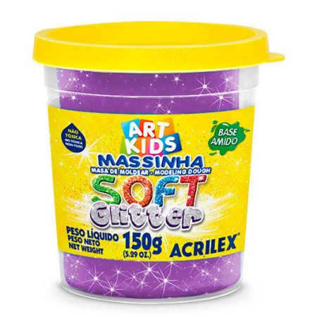 Massa de Modelar Soft Acrilex 150g Violeta Glitter 207