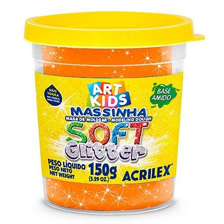 Massa de Modelar Soft Acrilex 150g Laranja Glitter 225