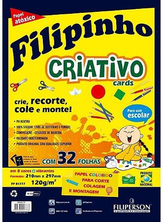 Papel Sulfite Filipinho Criativo A4 8 Cores 120g 32 Folhas